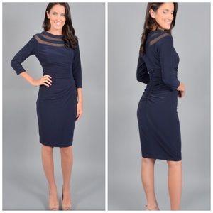 Xscape Wrap Dress Sheer Neck Blue Sz 14